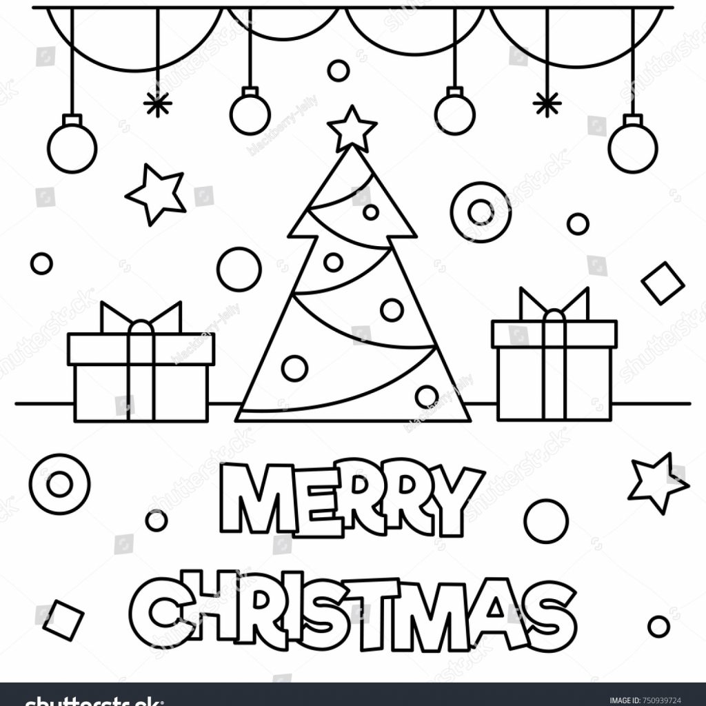 Merry Christmas Coloring Page With Black White Stock Vector Royalty Free