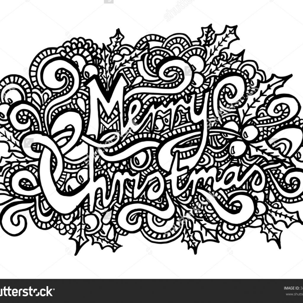 Merry Christmas Coloring Page With Zentangle