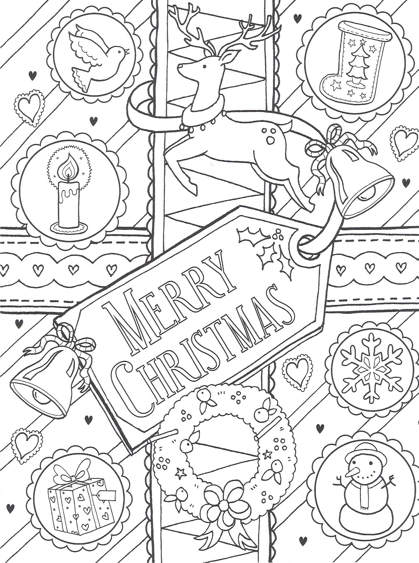 Merry Christmas Coloring Pages For Adults With Colouring Page Collection Pinterest