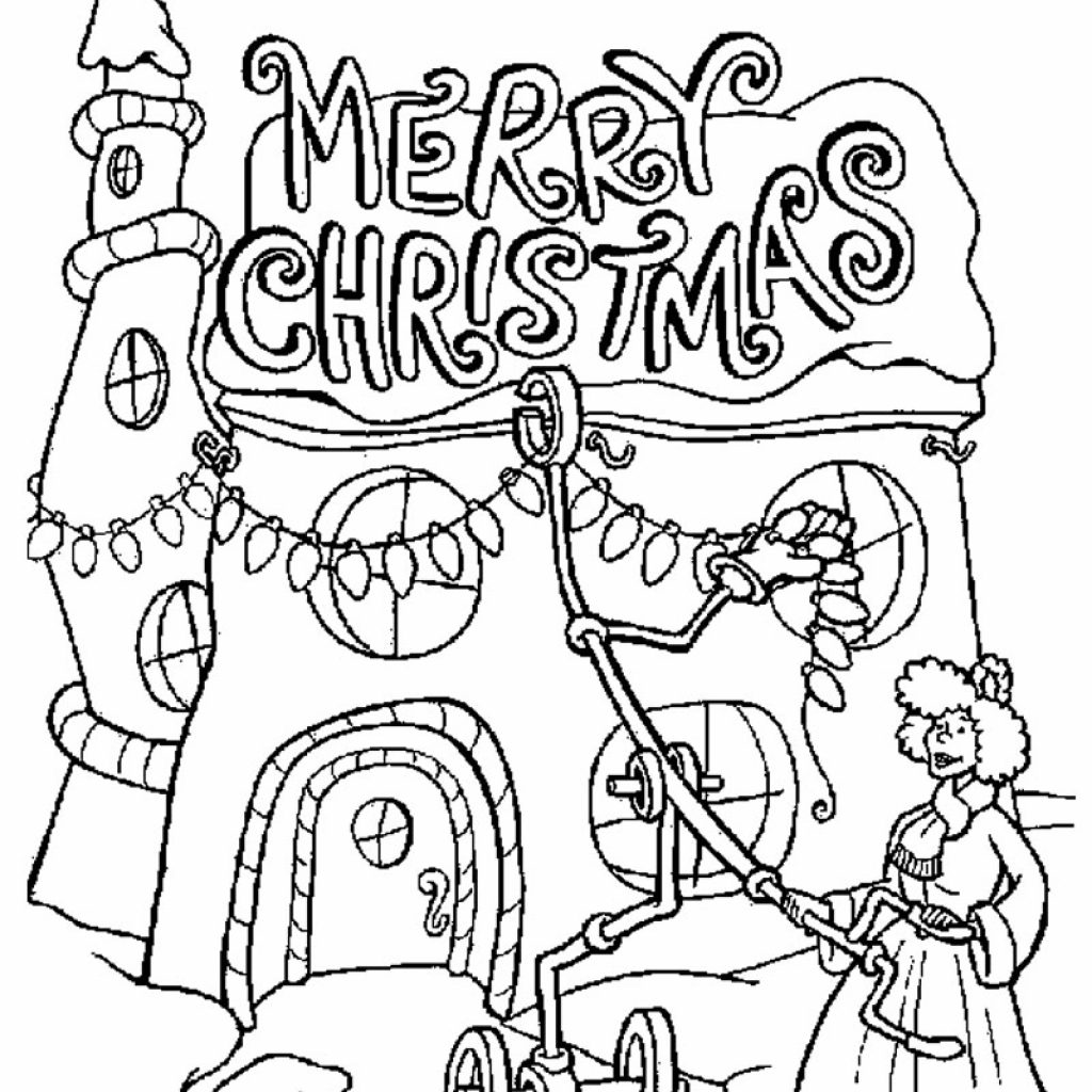 Merry Christmas Coloring Pages For Adults With Grinch In How The Stole Printable