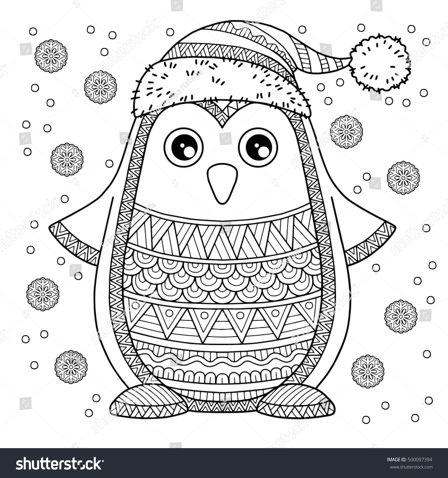 Merry Christmas Coloring Pages For Adults With Jolly Penguin Detailed Stock Vector