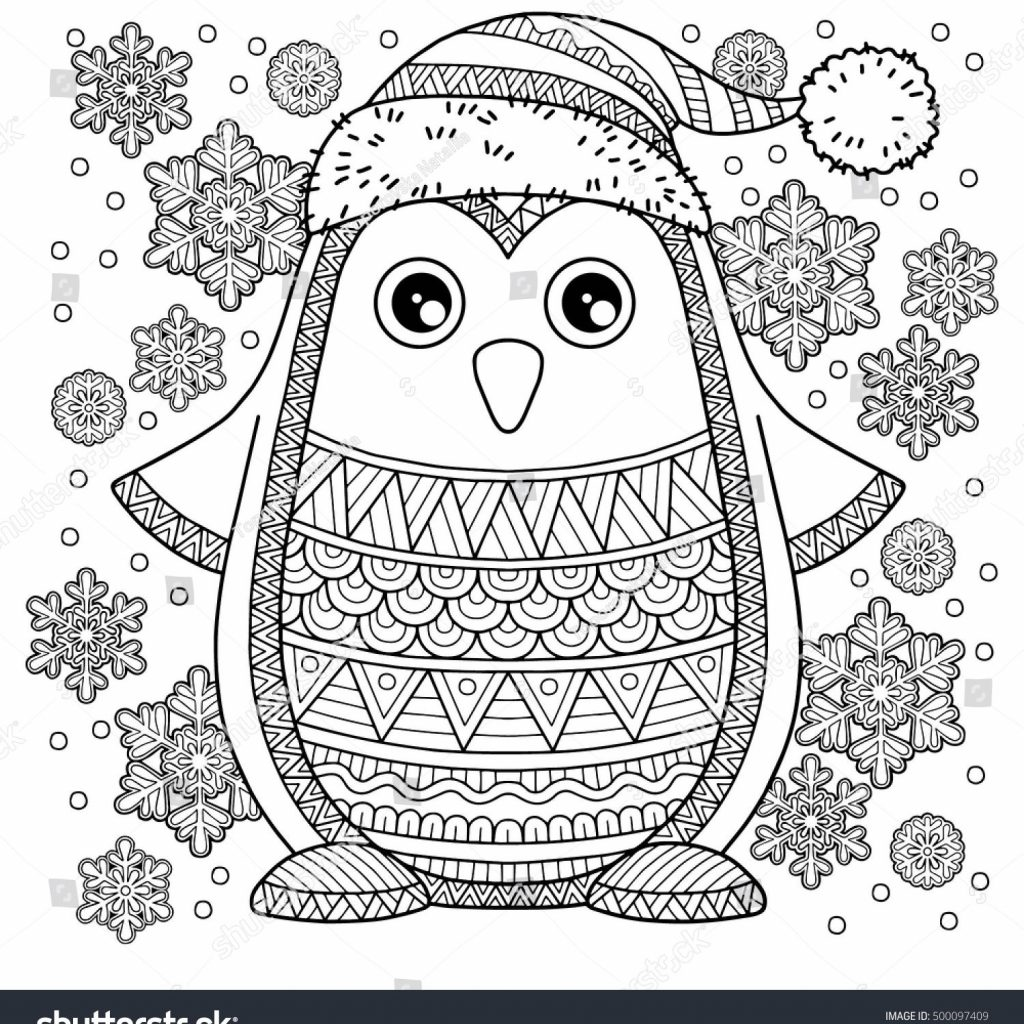 Merry Christmas Coloring Pages For Adults With Jolly Penguin The Detailed