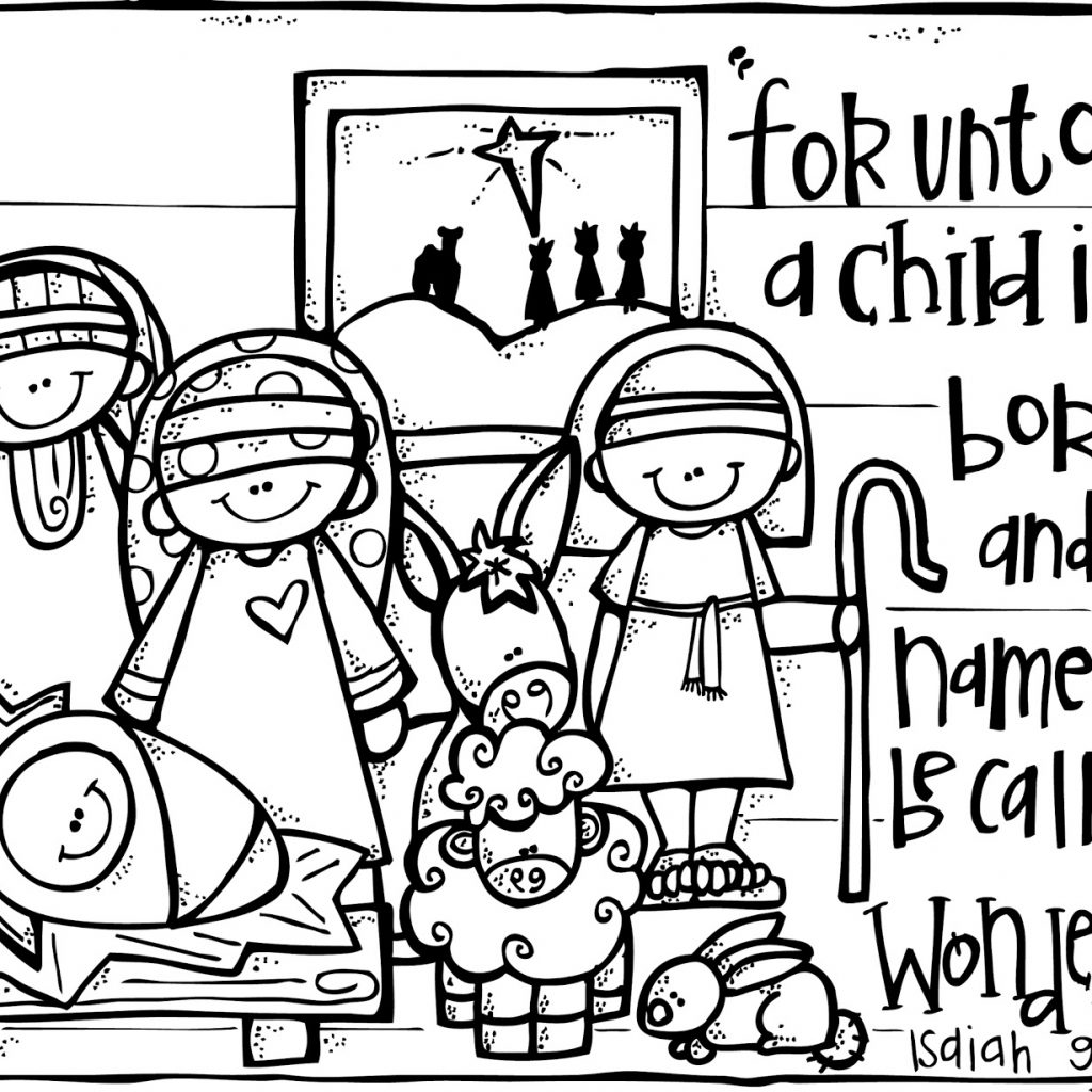 Merry Christmas Coloring Pages For Toddlers With Free Printable Nativity Kids Best