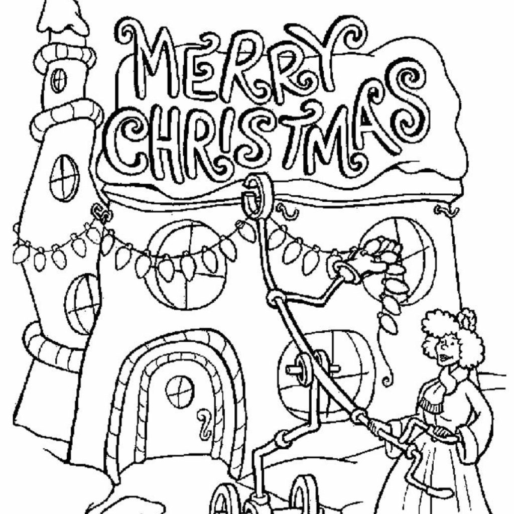 Merry Christmas Coloring Pages Print With Lights Grinch Teacher Pinterest