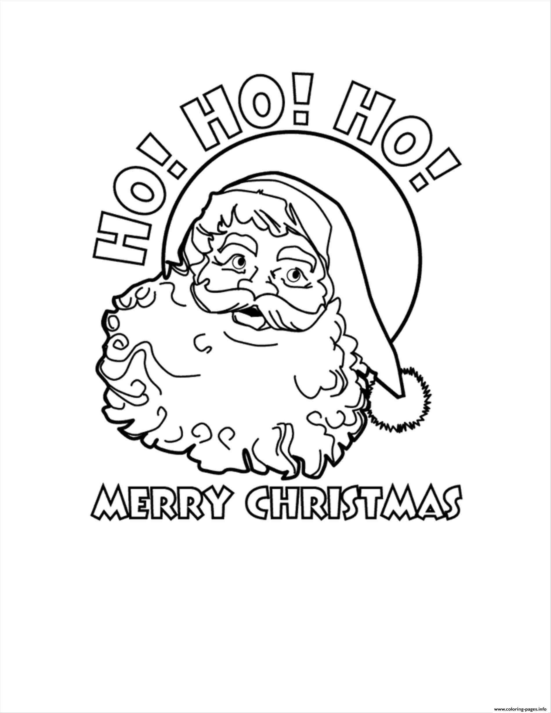 Merry Christmas Coloring Pages Print With Santa Claus Ho Printable