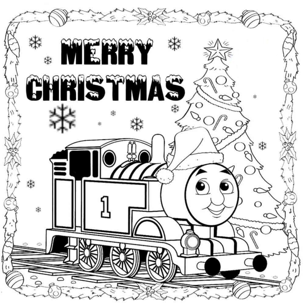 Merry Christmas Coloring Pages Print With Unique Thomas Colouring The Tank Engine