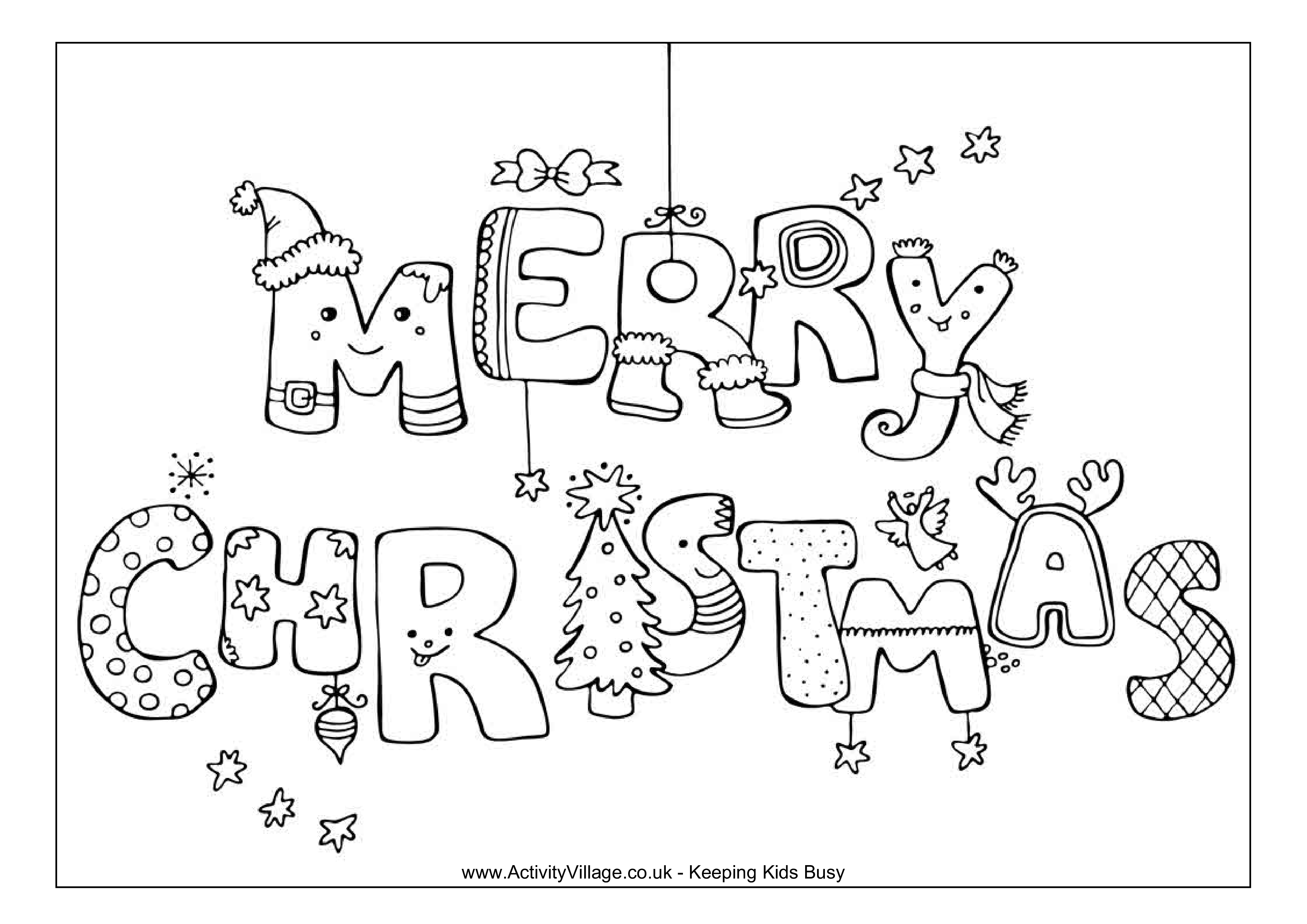 Merry Christmas Colouring In Pages With Free Coloring Page Templates At