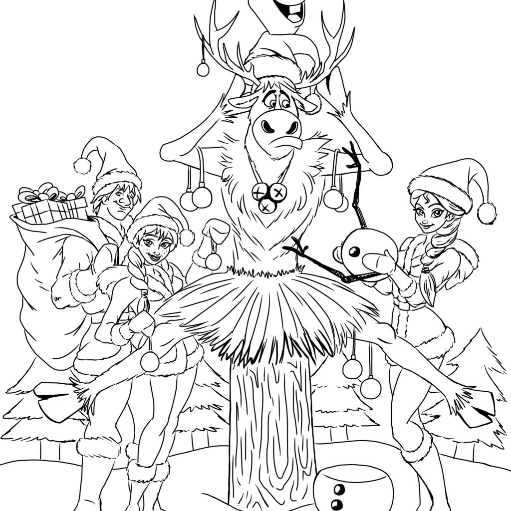 Merry Christmas Colouring Pages Printable With Frozen Coloring Page Kristen Hewitt