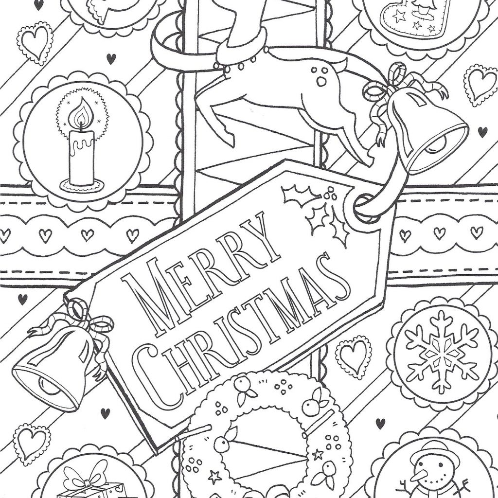 Merry Christmas Colouring Pages Printable With Page Coloring Collection Pinterest