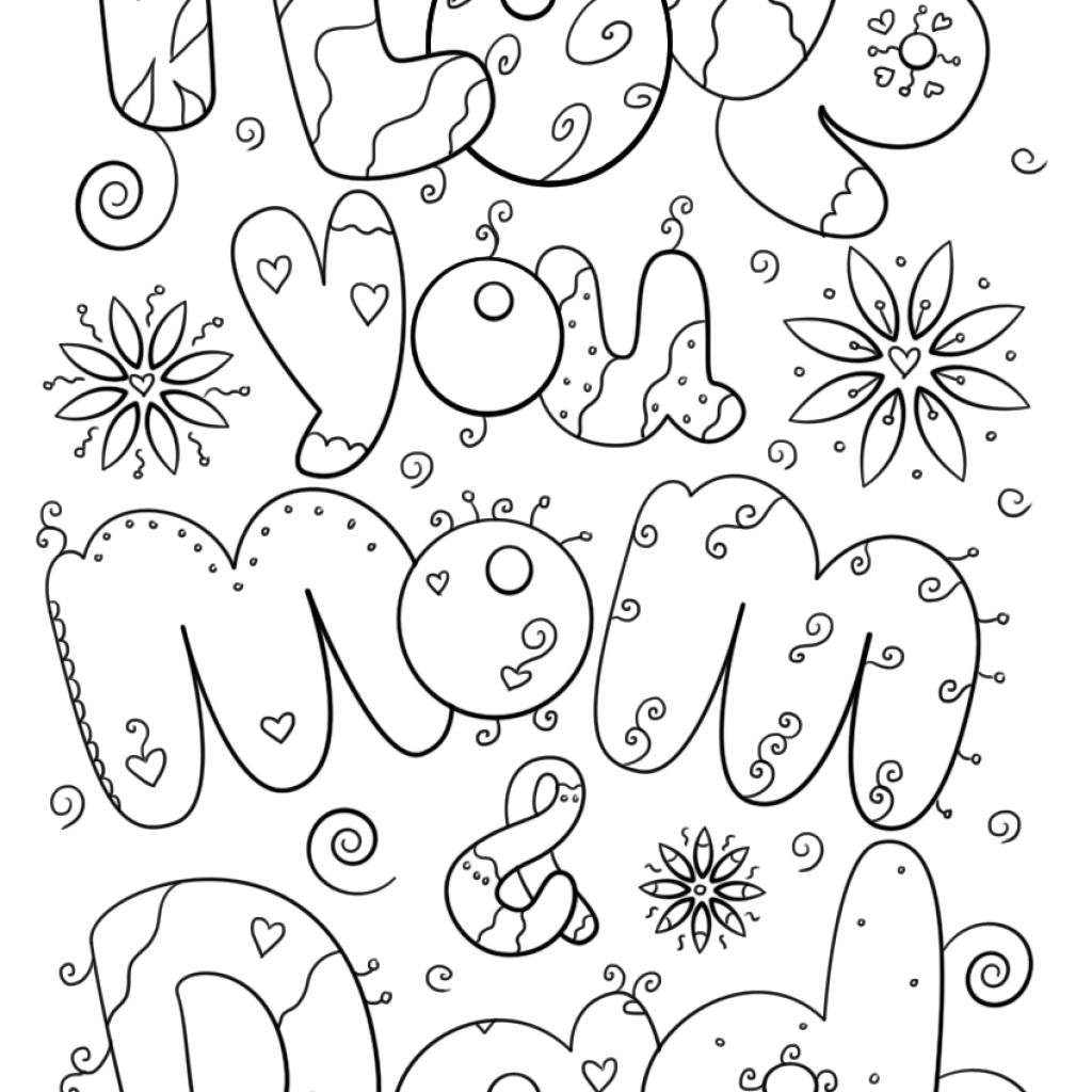 Merry Christmas Daddy Coloring Pages With I Love You Mom And Dad Page Free Printable
