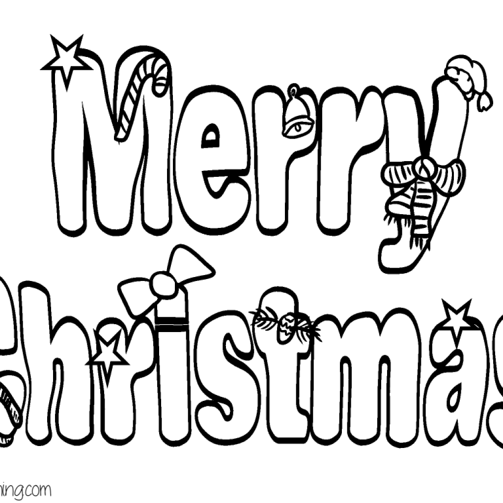 Merry Christmas Letters Coloring Pages With Bubble Letter Page Holiday Crafts