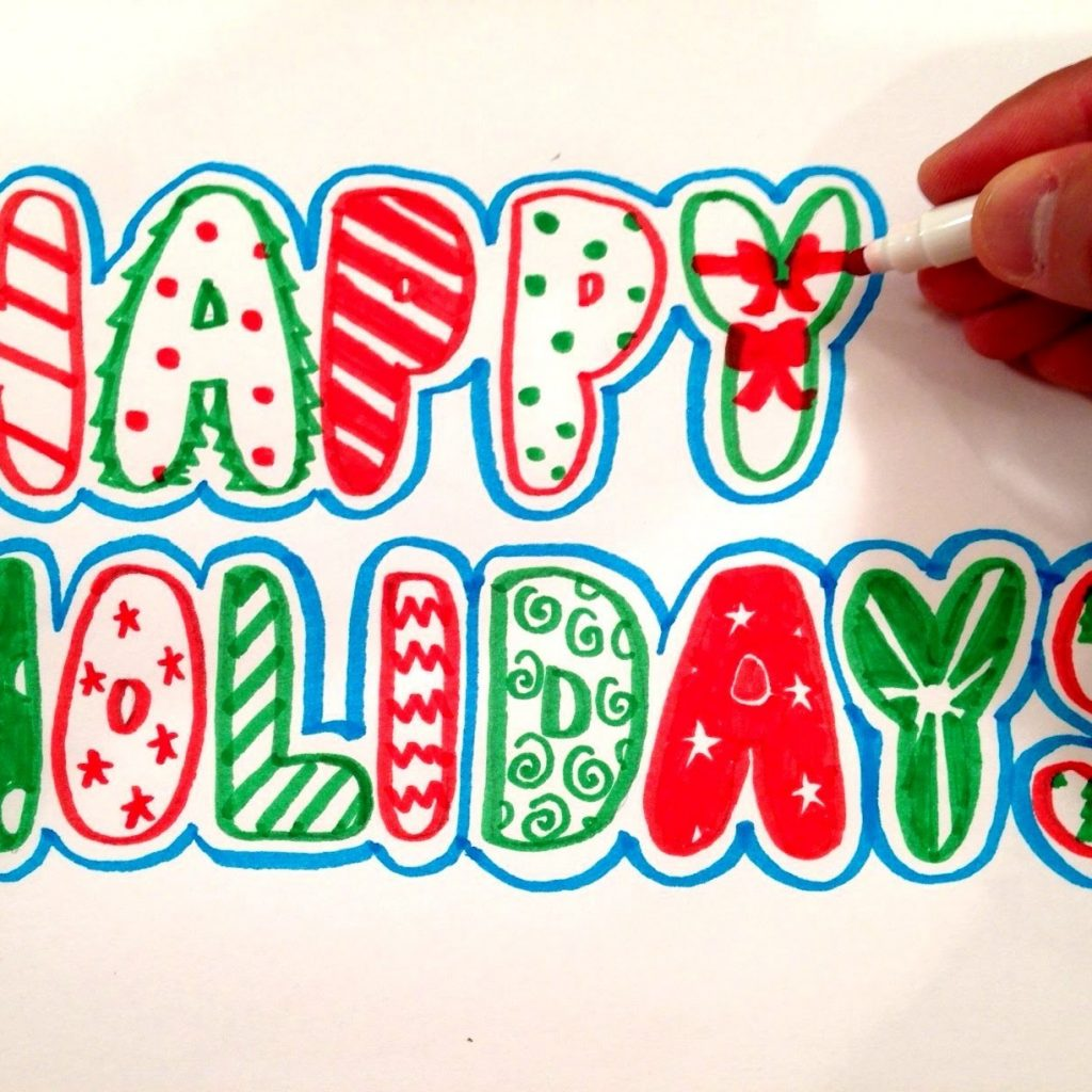 Merry Christmas Letters Coloring Pages With How To Draw Happy Holidays In Bubble YouTube