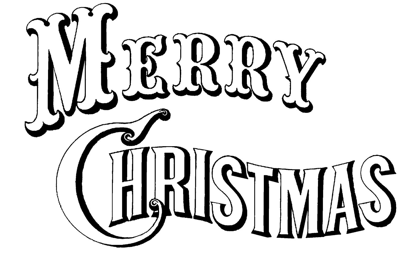 Merry Christmas Sign Coloring Pages With Black White Image Created From A Currier Ives