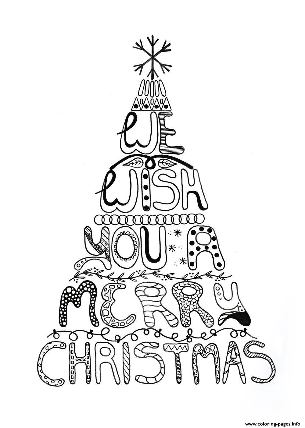 Merry Christmas Tree Coloring Page With Adult Pages Printable