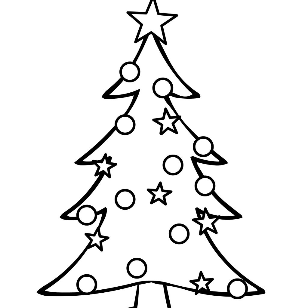 Merry Christmas Tree Coloring Page With Big Pages Printable Inspirationa Easy