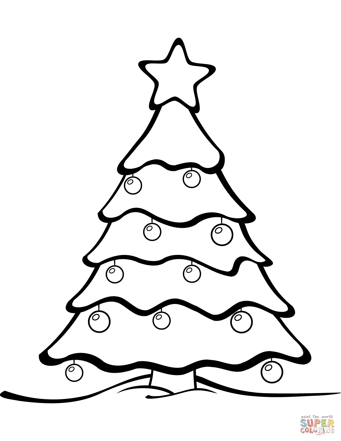 Merry Christmas Tree Coloring Page With From Category Select
