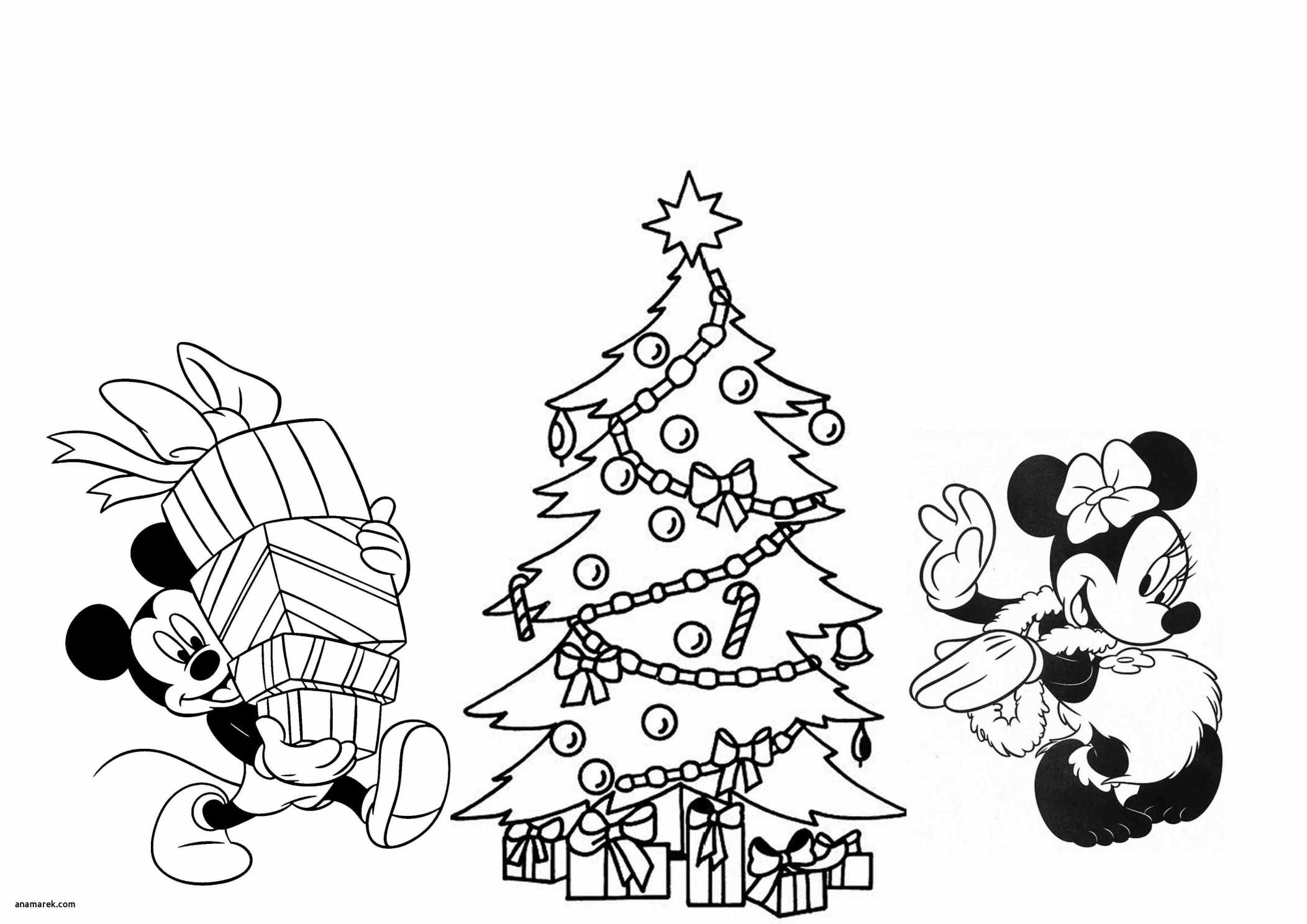Merry Christmas Tree Coloring Page With Mickey Mouse Xmas Pages