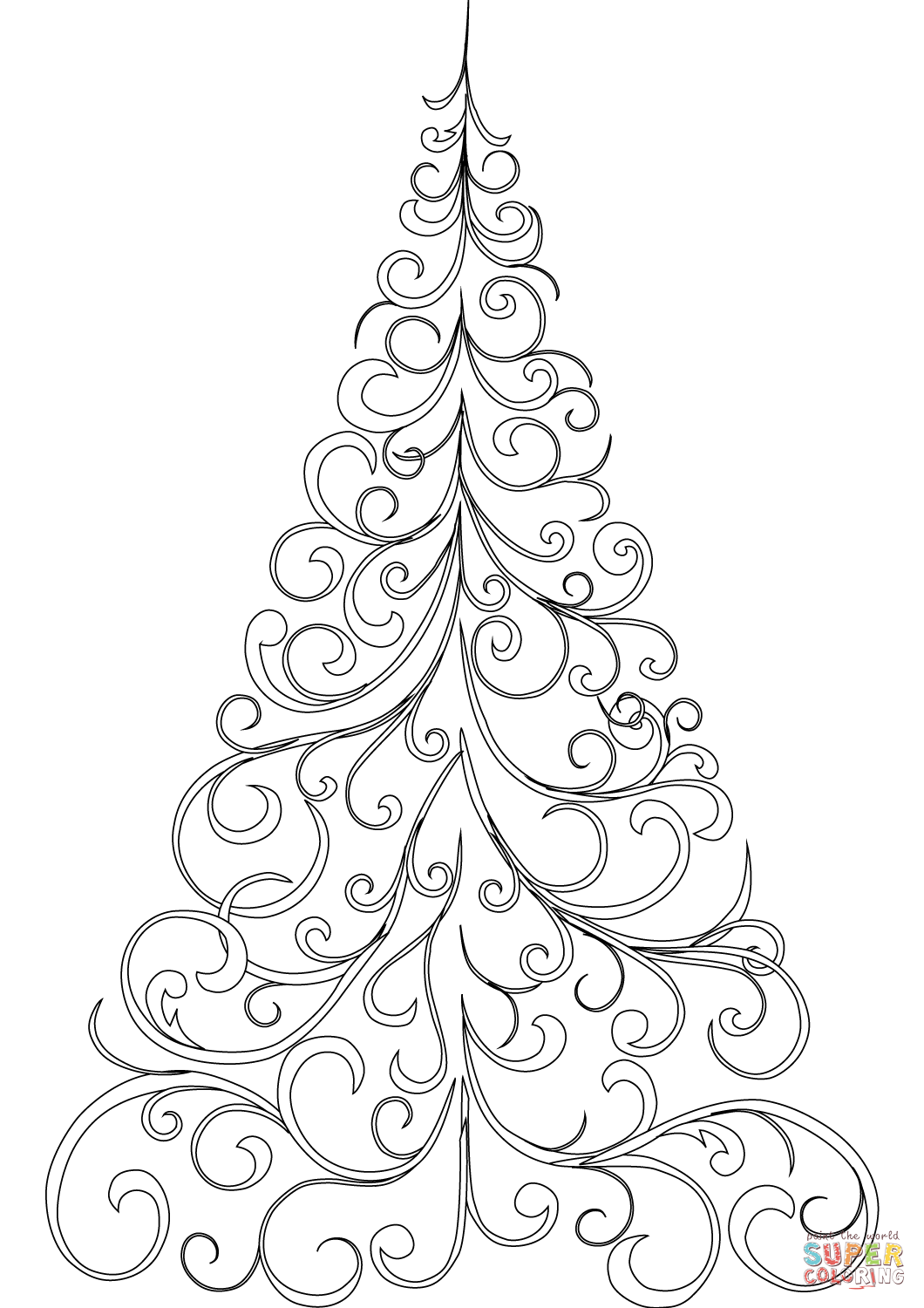 Merry Christmas Tree Coloring Page With Swirly Free Printable Pages