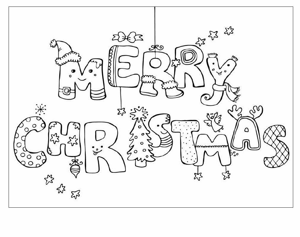 Merry Christmas Words Coloring Pages With Card Color Bros