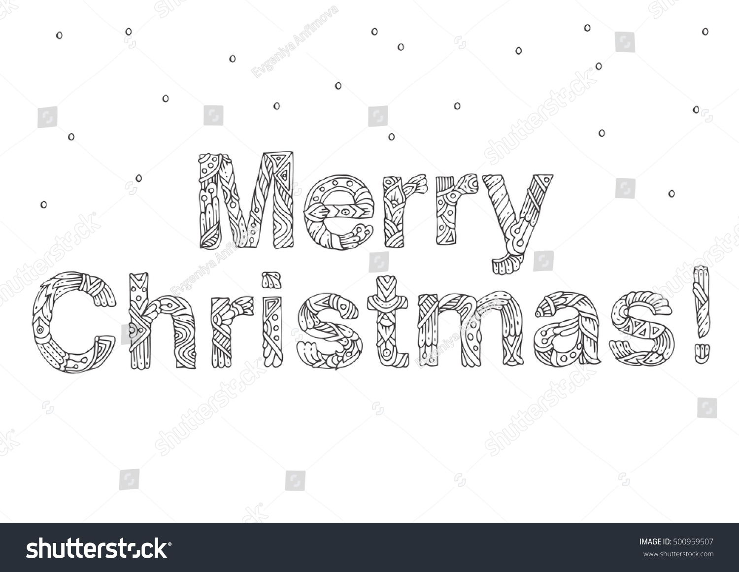 Merry Christmas Words Coloring Pages With Ethnic Floral Doodle Stock Vector Royalty