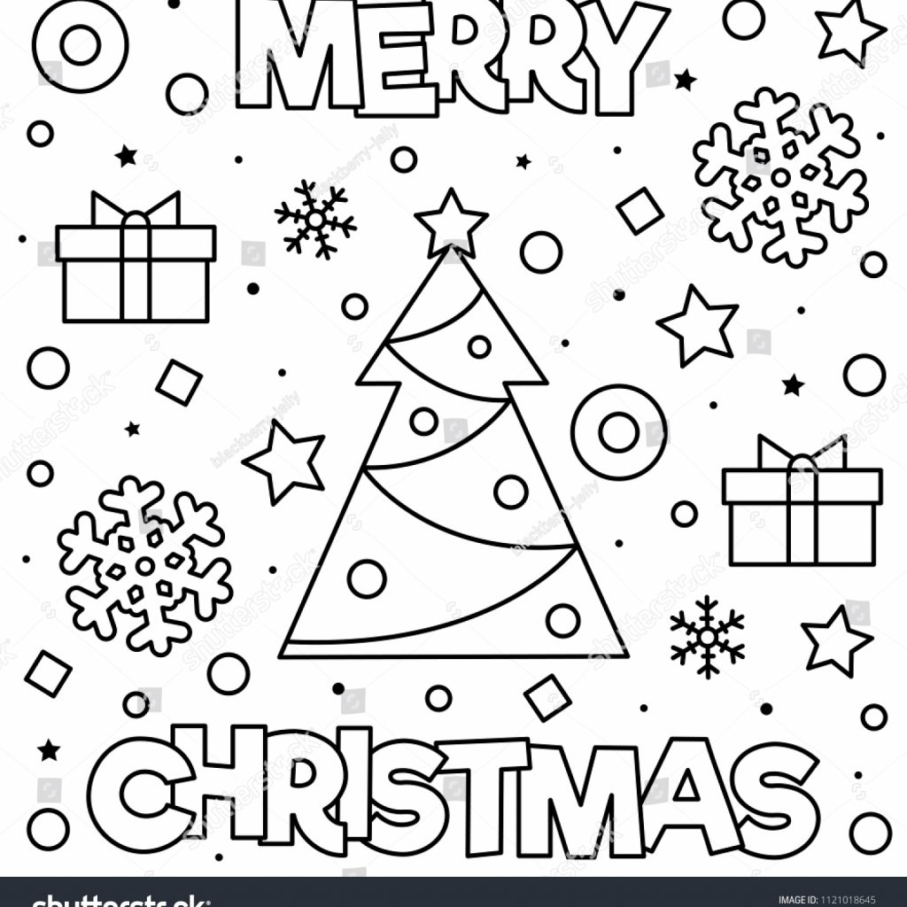 Merry Xmas Coloring Pages With Christmas Page Black White Stock Vector Royalty Free