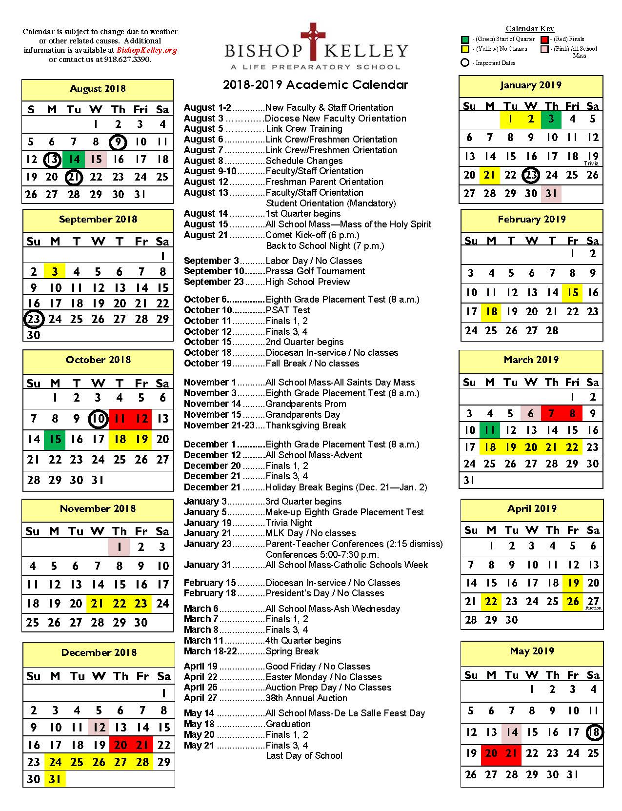 Military Fiscal Year 2019 Calendar With Academic Bishop Kelley