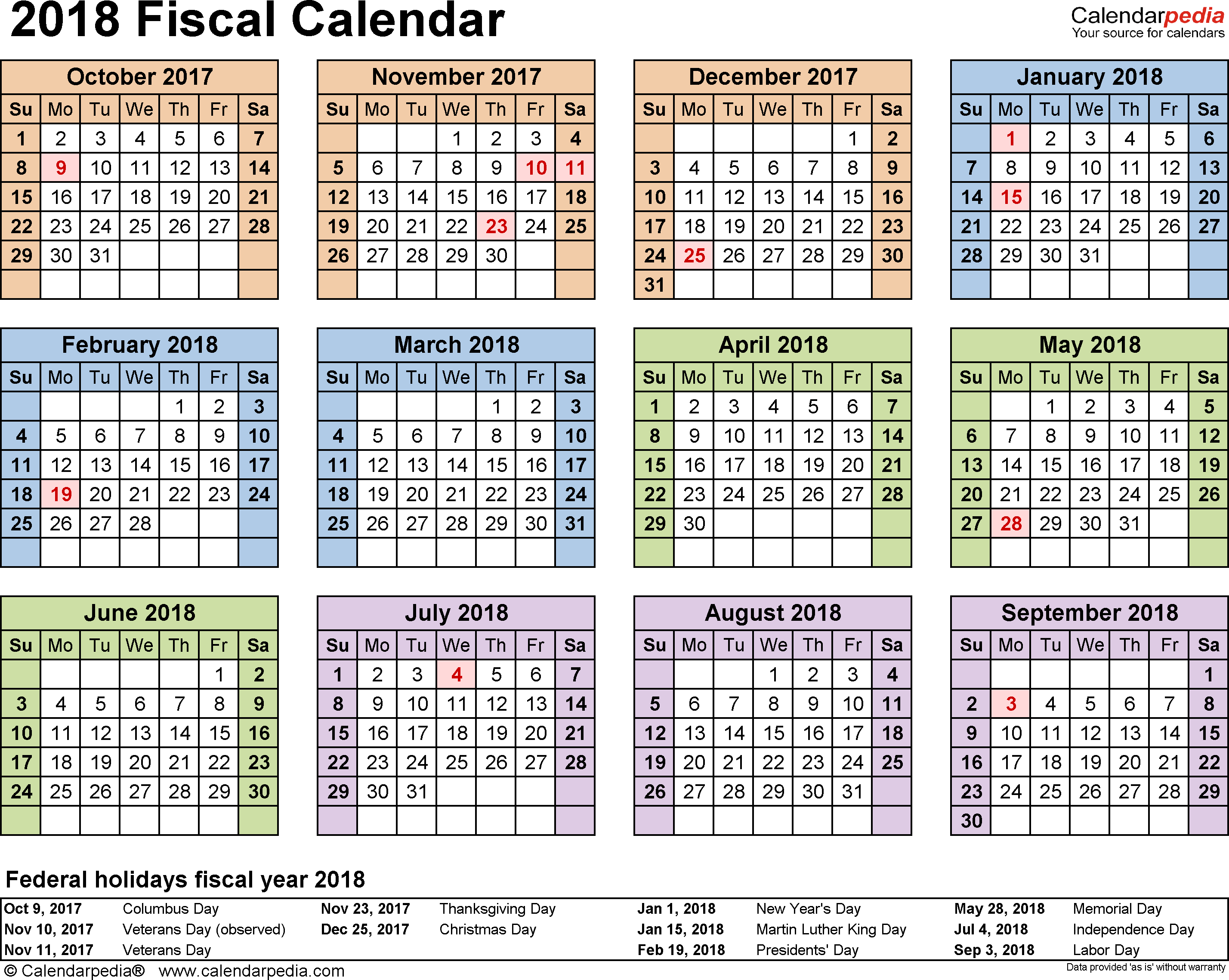 Military Fiscal Year 2019 Calendar With Calendars 2018 As Free Printable PDF Templates