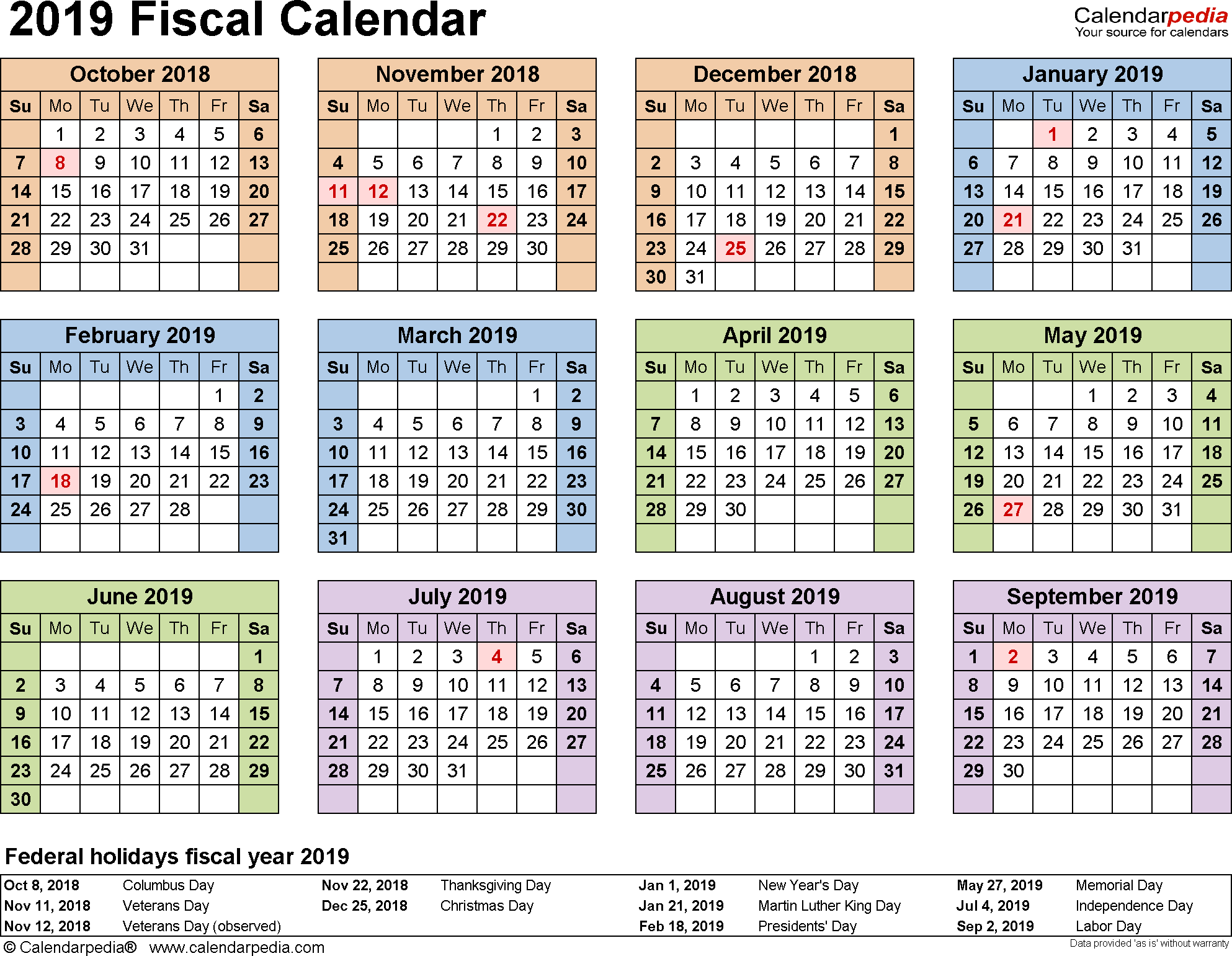Military Fiscal Year 2019 Calendar With Calendars As Free Printable Word Templates