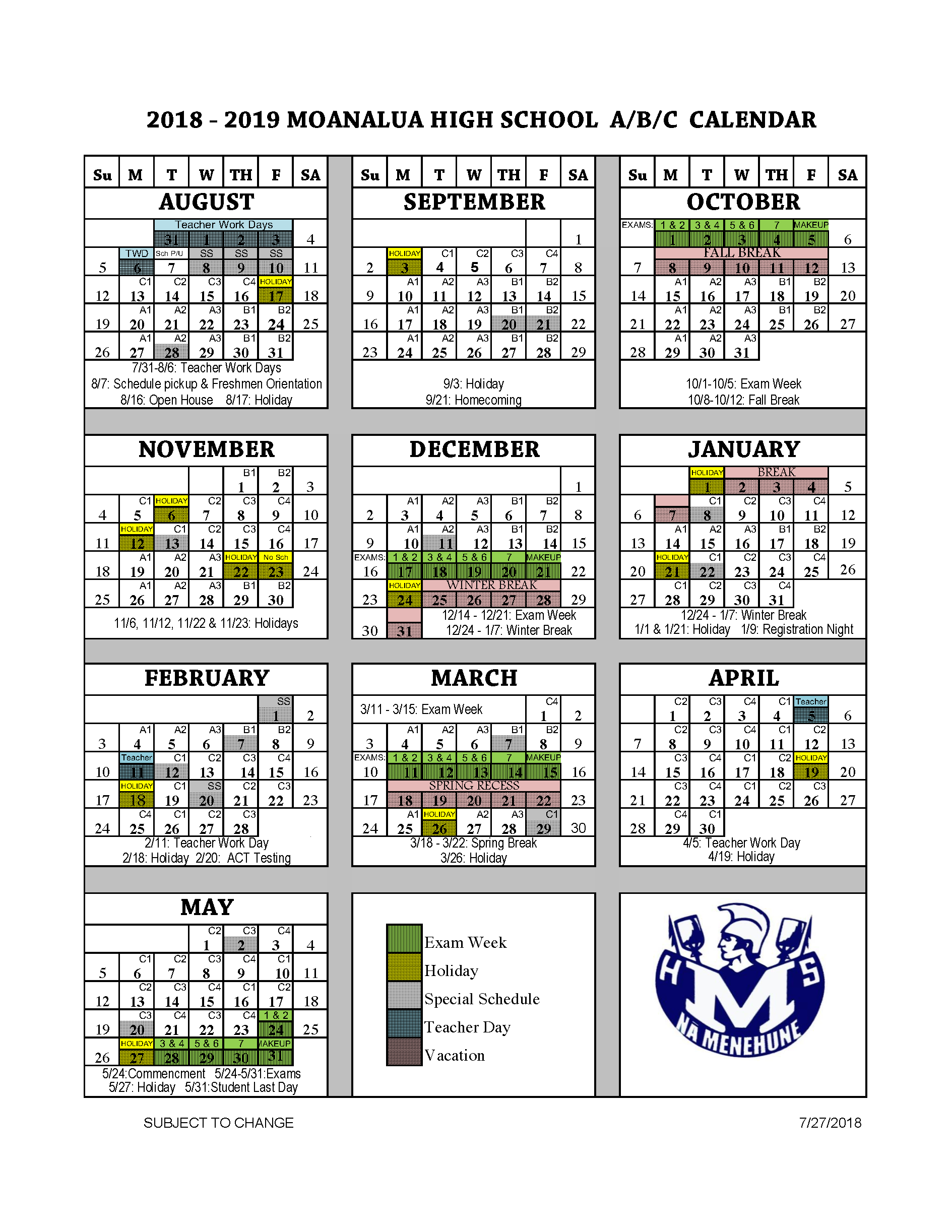 Military Fiscal Year 2019 Calendar With School A B C Parents Moanalua High
