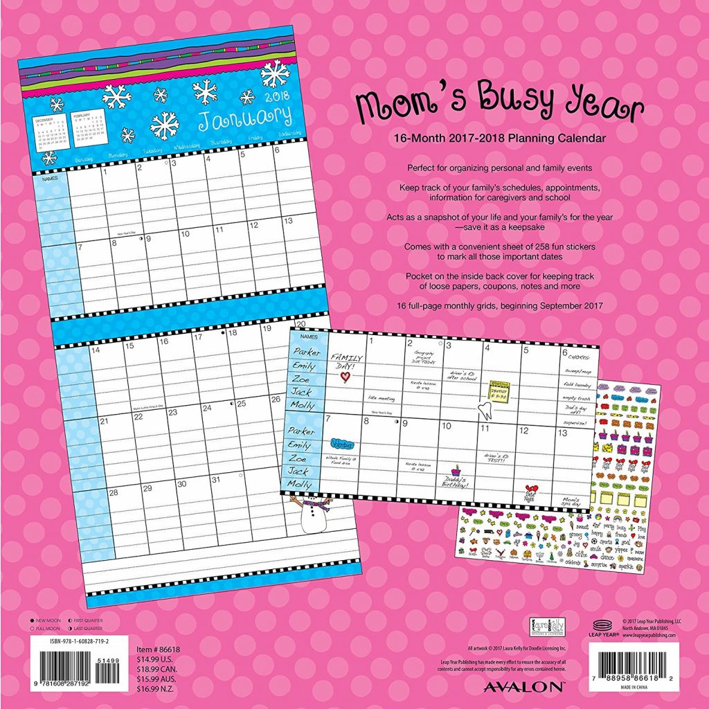 Mom S Busy Year Calendar 2019 With Amazon Com Avalon 2018 Wall 16 Months
