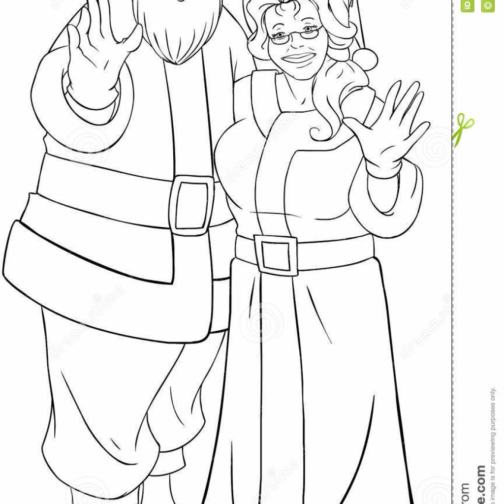 Mrs Santa Claus Coloring Pages With And Waving Hands For Christmas Col Stock Vector