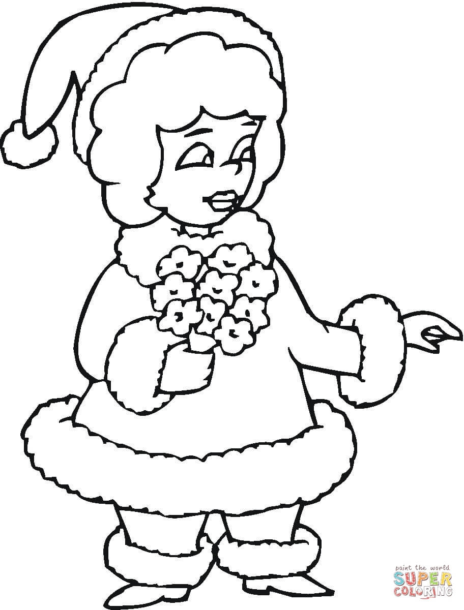Ms Santa Claus Coloring Pages With Mrs Page Free Printable