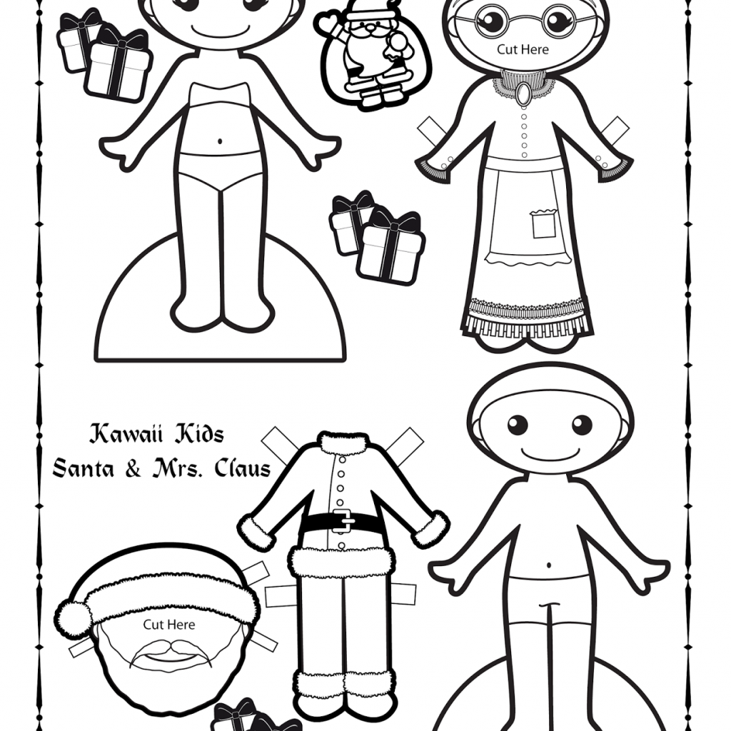 Ms Santa Claus Coloring Pages With Paper Doll School Kawaii Kids 24 And Mrs