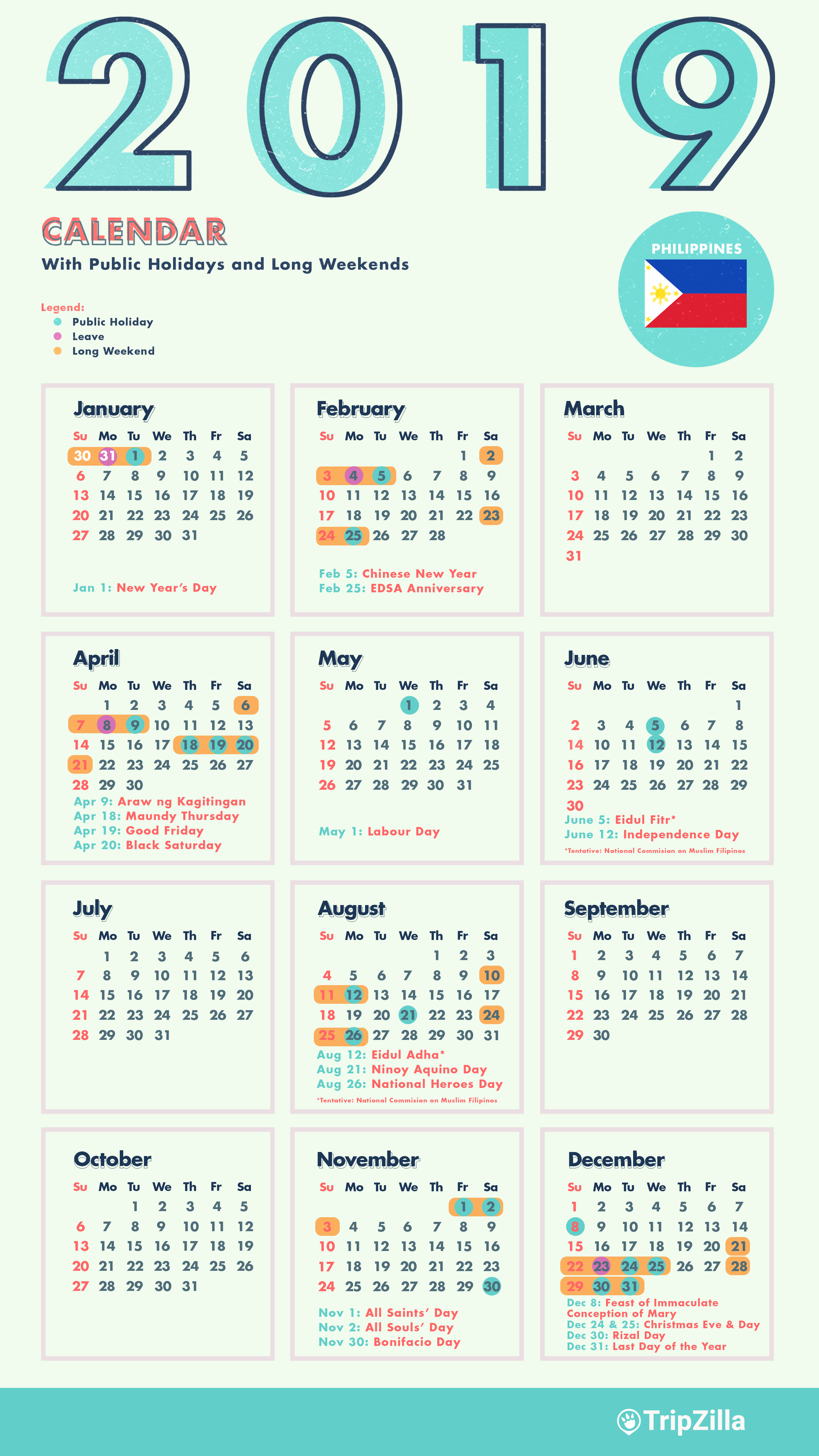 New Year Calendar 2019 With 10 Long Weekends In The Philippines Cheatsheet