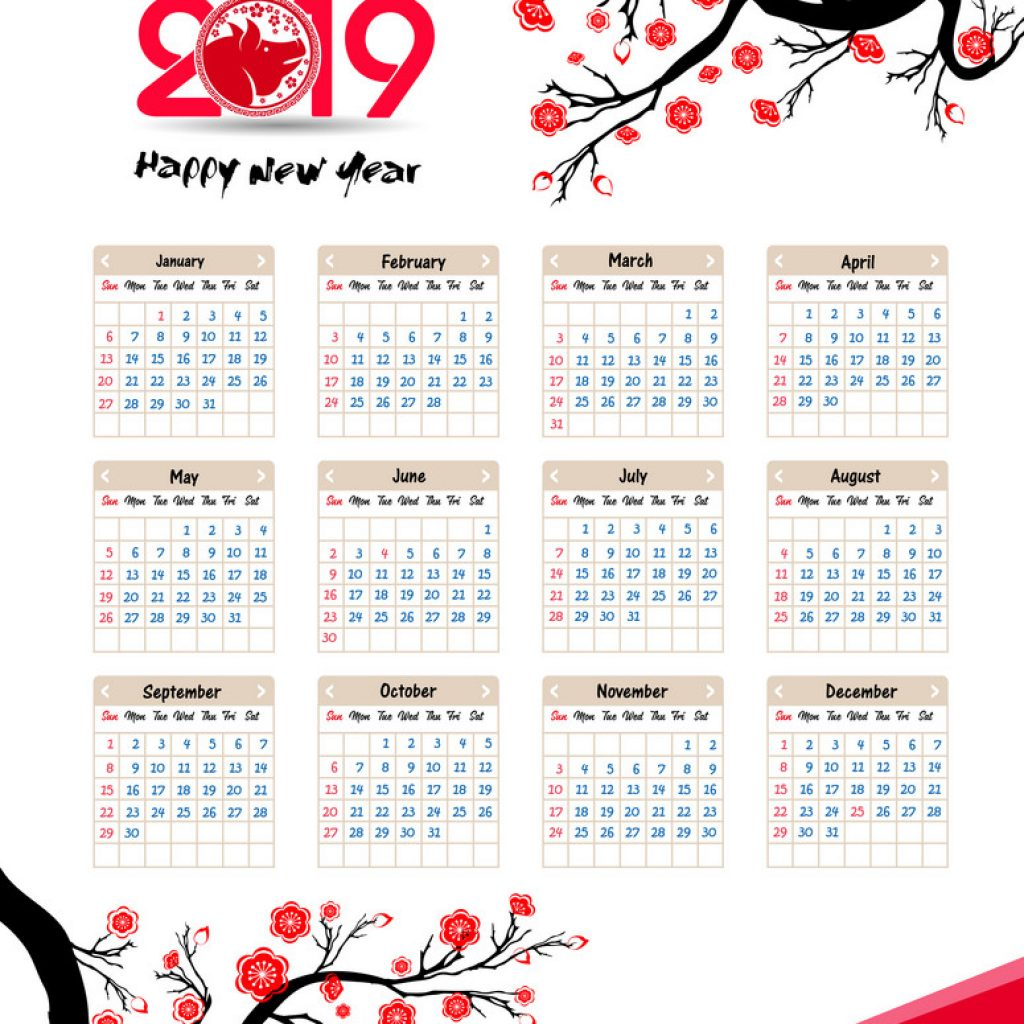 New Year Calendar 2019 With Chinese For Happy Vector Image
