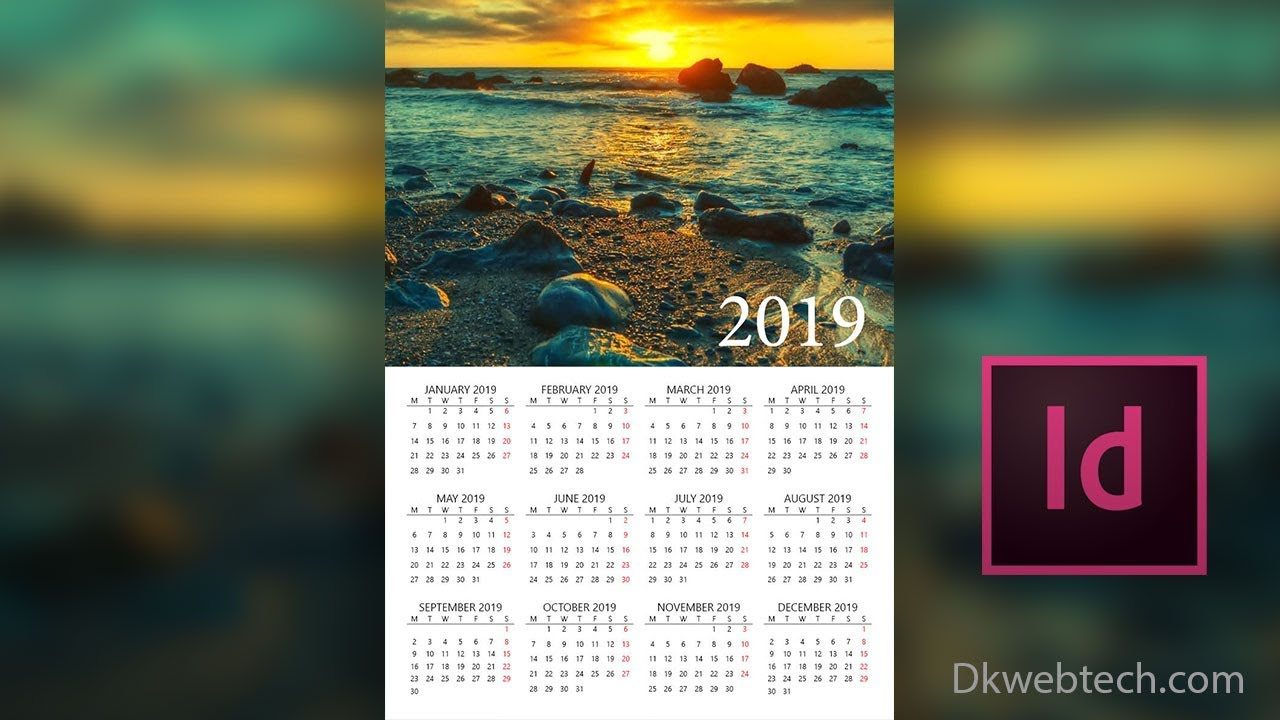 New Year Calendar 2019 With Design In Adobe InDesign Hindi YouTube