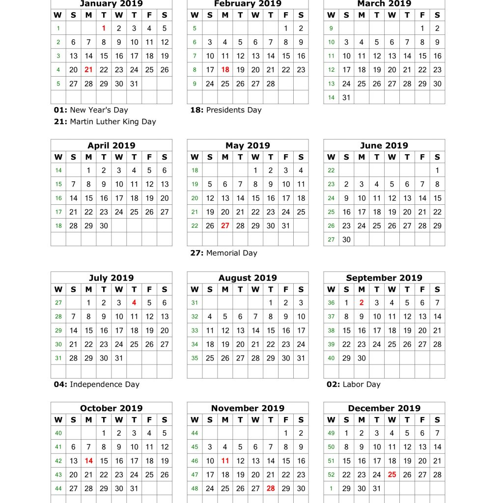 New Year Calendar 2019 With Holidays Download Blank US 12 Months On One Page
