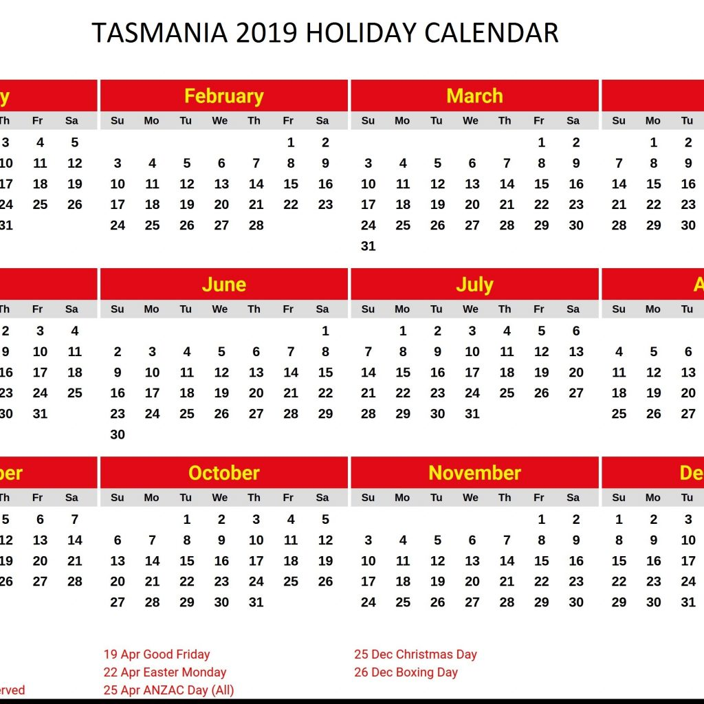 New Year Calendar 2019 With Holidays Free Printable School Tasmanian PDF