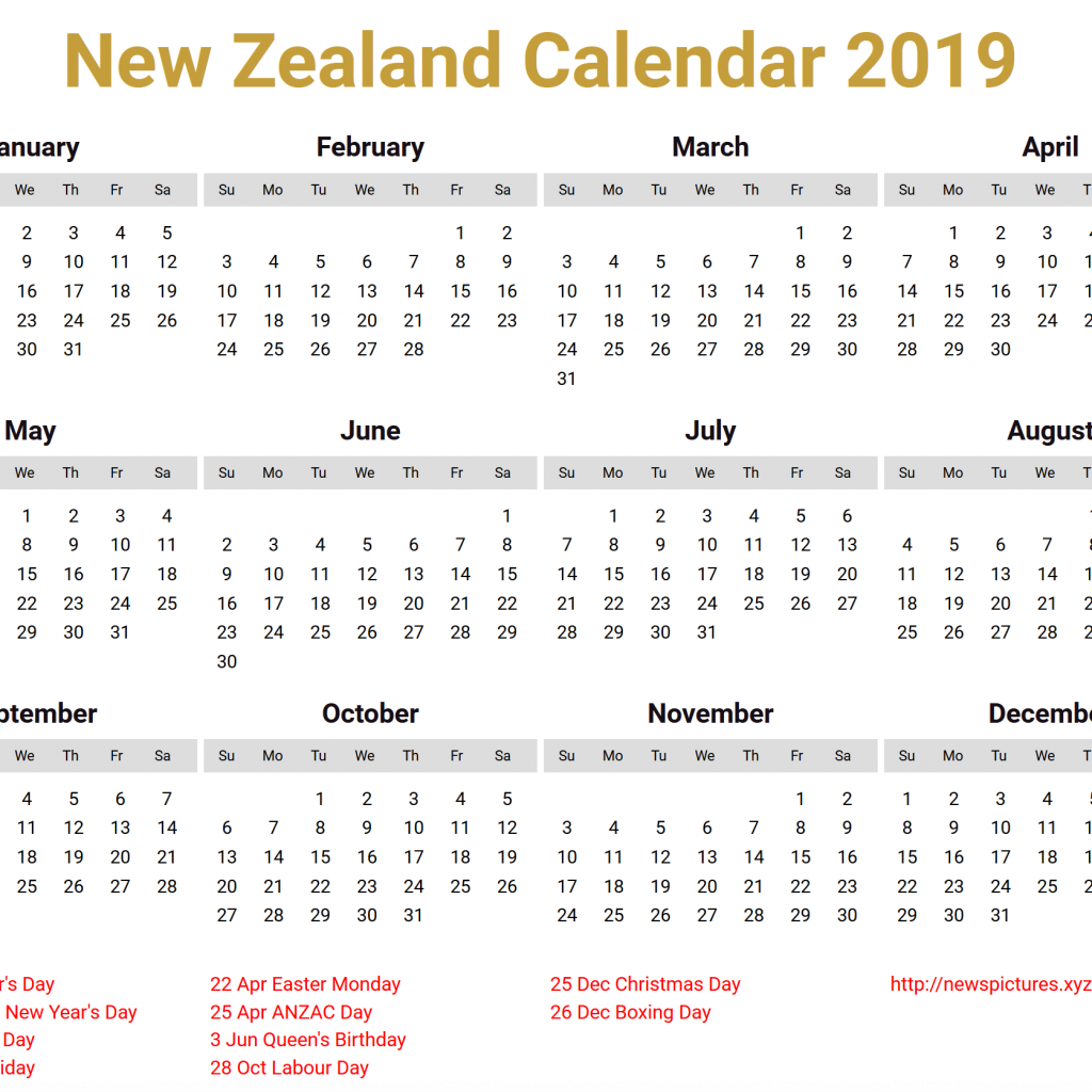 New Year Calendar 2019 With Holidays Image For Zealand Download Bear Pinterest