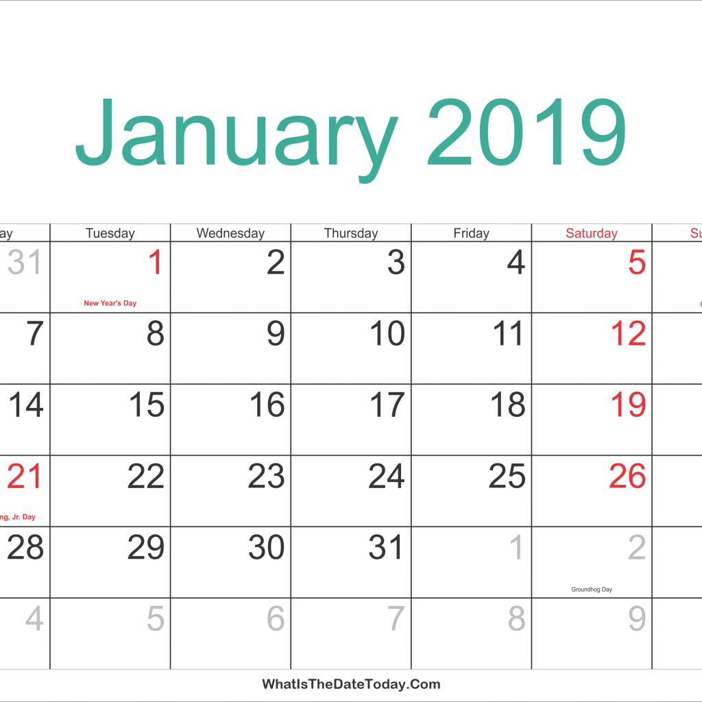 New Year Calendar 2019 With Holidays January Printable Com