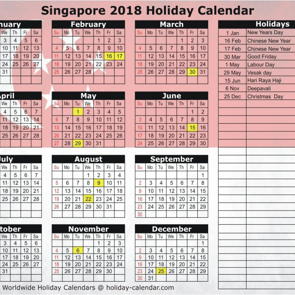 New Year Calendar 2019 With Holidays Singapore 2018 Holiday