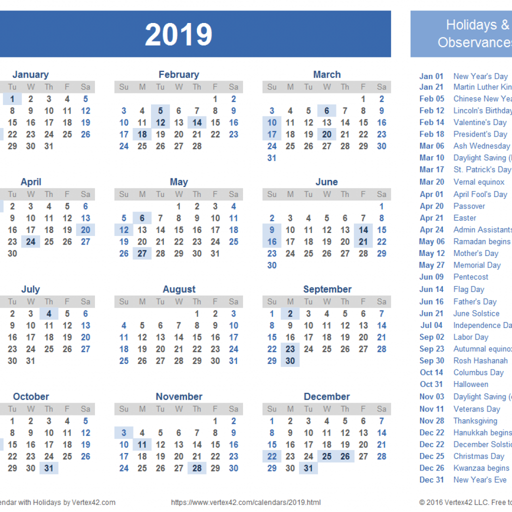 New Year Calendar 2019 With Holidays Templates And Images