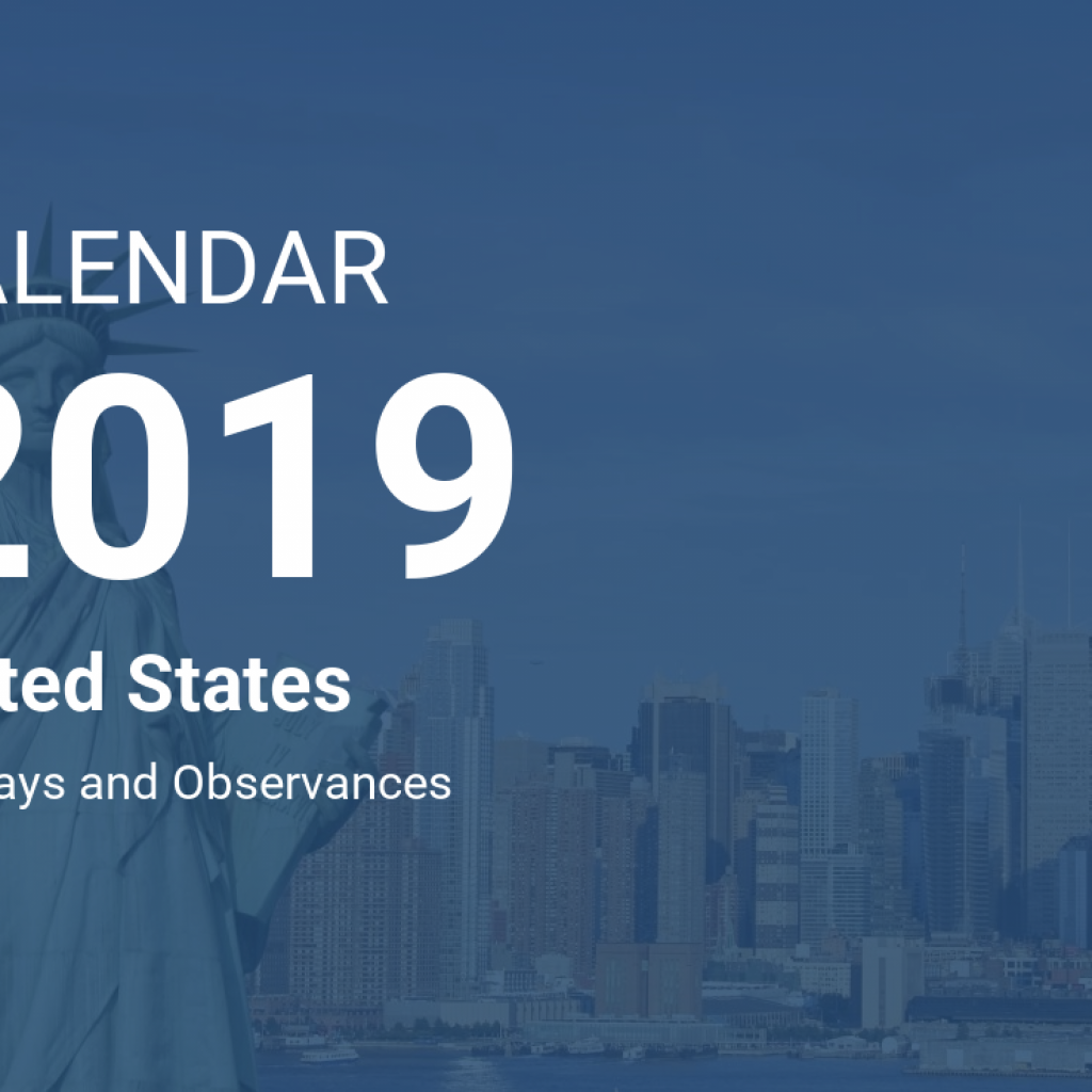 New Year Calendar 2019 With Holidays United States