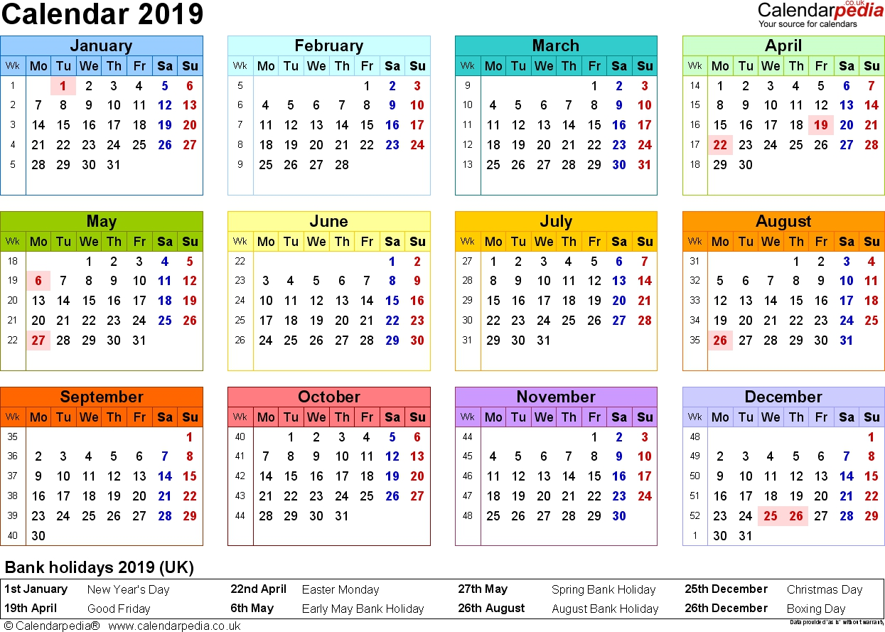 New Year Calendar 2019 With Holidays Yearly Bank In UK Template Public
