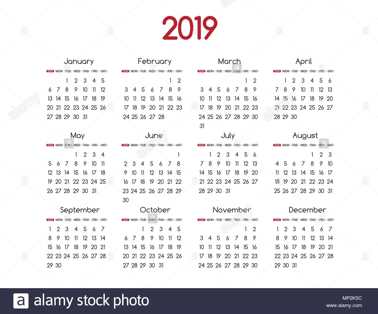 New Year Calendar 2019 With Vector Modern Simple Design Round San