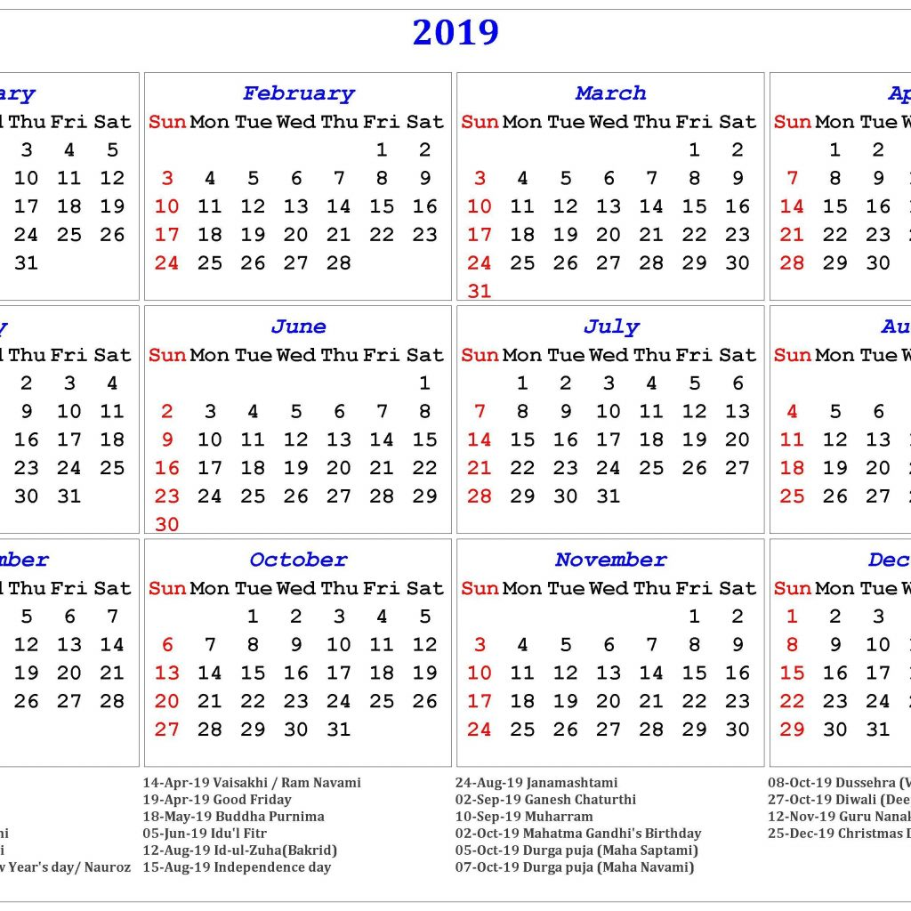 New Year Calendar 2019 With Yearly Printable Free Japan Holidays August