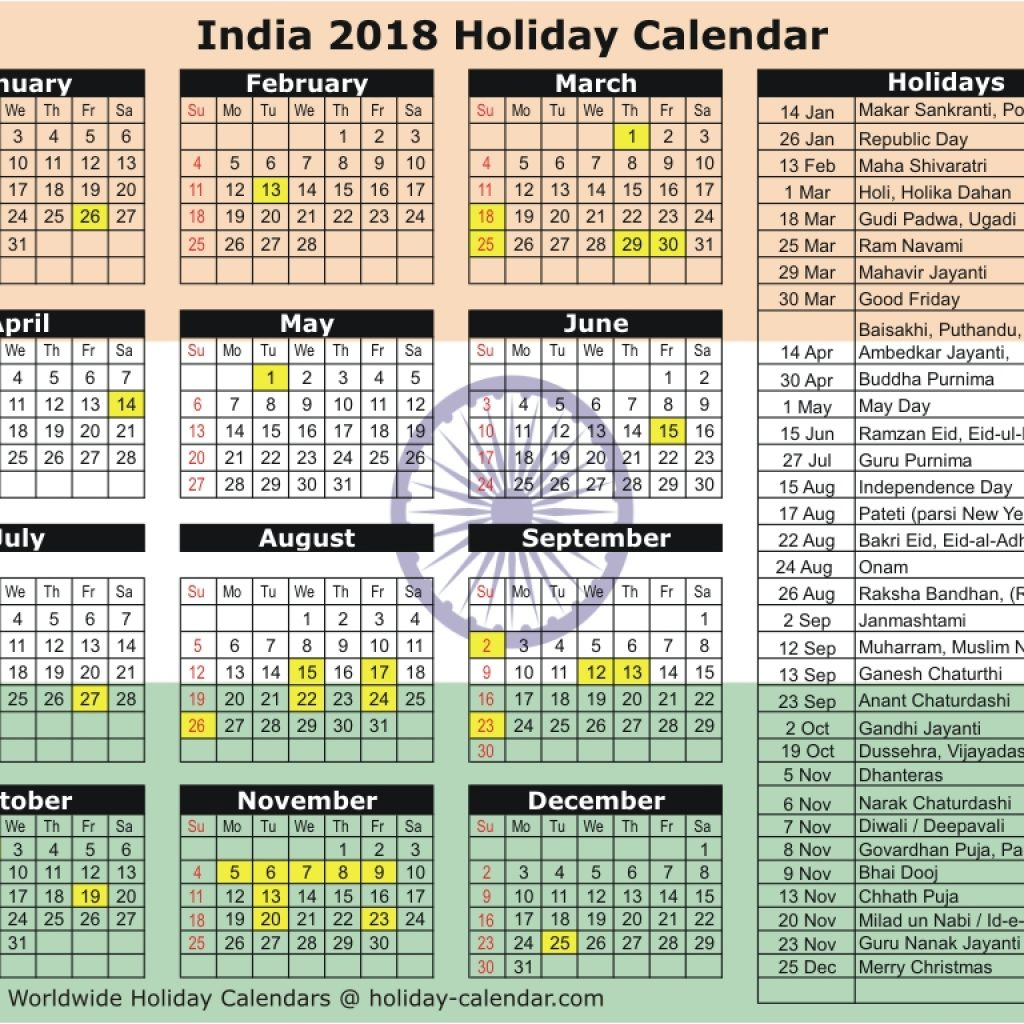 Next Year Calendar 2019 India With 2018 Holiday