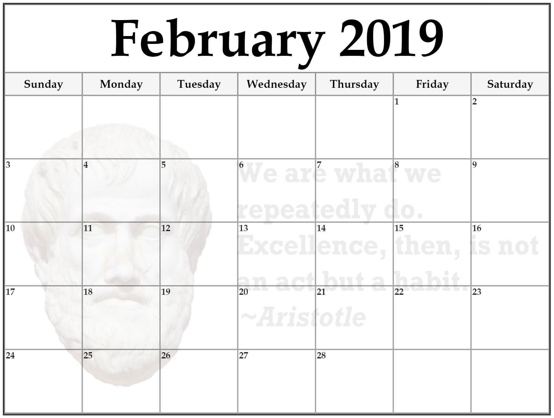 Next Year Calendar 2019 Malayalam With February Format Example