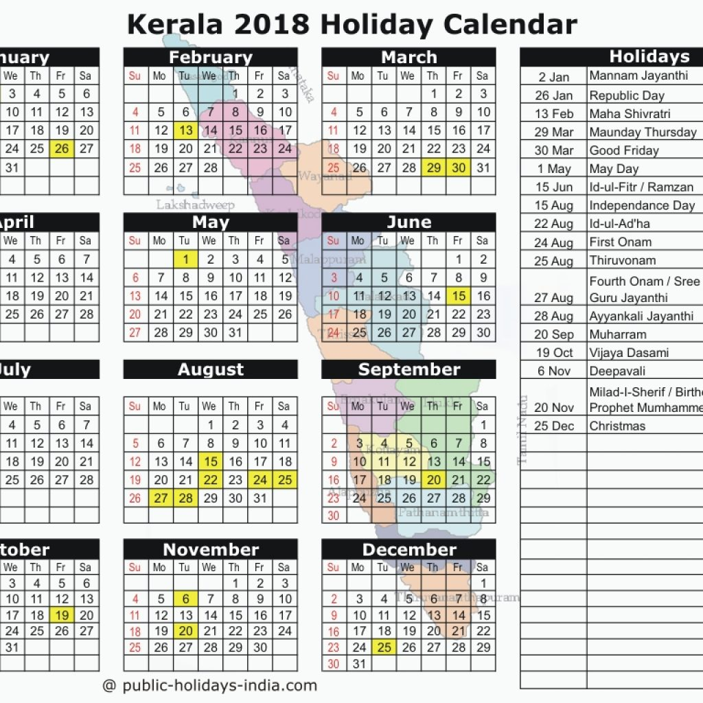 Next Year Calendar 2019 Malayalam With Kerala Public Holiday 2018