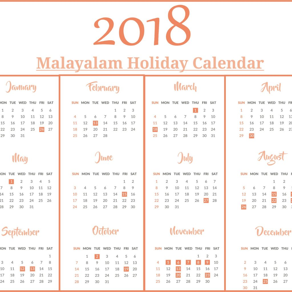 Next Year Calendar 2019 Malayalam With Variety Of India Printable Holidays